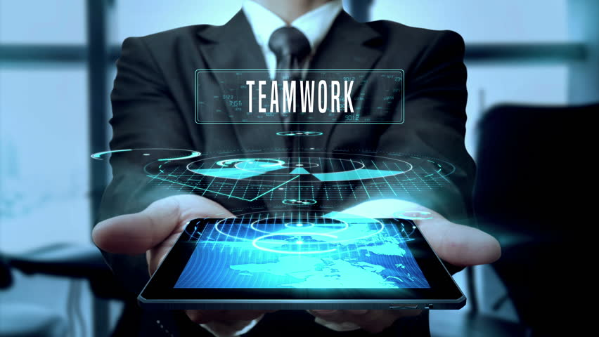 Teamwork Planning Strategy Innovation Concept Businessman Using Hologram Tablet Technology - Loop | Shutterstock HD Video #24538616