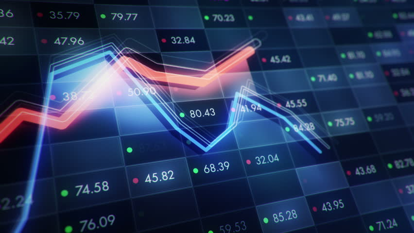 Abstract background with animation of growth graph of stock market on screen of trading board with abstract quotes tickers, words about business or technology, binary code. Animation of seamless loop. | Shutterstock HD Video #24538928