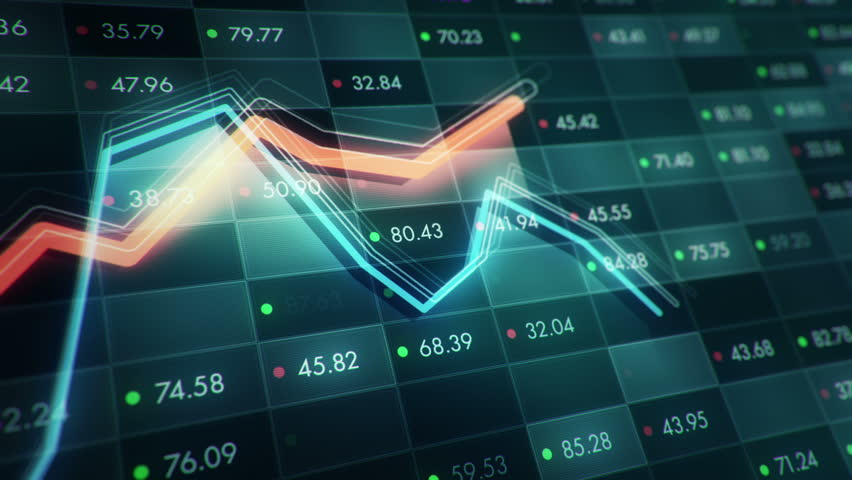 Abstract background with animation of growth graph of stock market on screen of trading board with abstract quotes tickers, words about business or technology, binary code. Animation of seamless loop. | Shutterstock HD Video #24539225