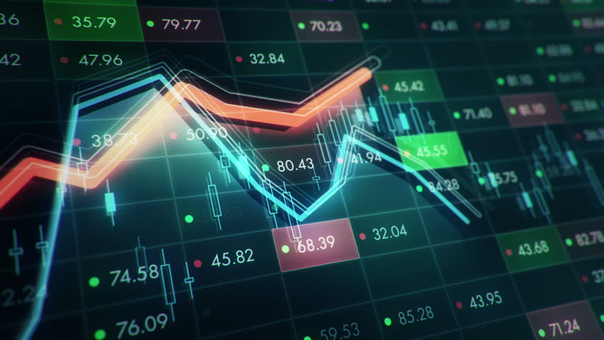 Abstract background with animation of growth graph of stock market on screen of trading board with abstract quotes tickers, words about business or technology, binary code. Animation of seamless loop. | Shutterstock HD Video #24539336