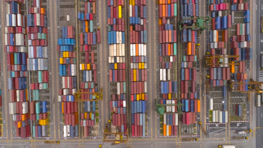 Many containers Flying above Drone shot Aerial Singapore   Shutterstock HD Video #24553910