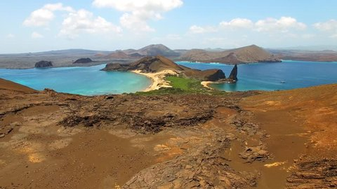 Aerial view of volcanic landscape of Bartolome island, Galapagos, Ecuador