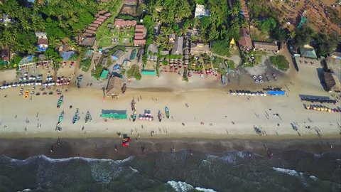Arambol Beach, Goa, India. Flight over the sandy beach, 2 hours before the sunset.  Arabic see and it's warm and calm waves!