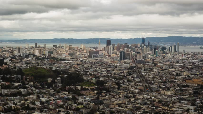Time lapse video of clouds moving over San Francisco. Beautiful view  overlooking the entire city