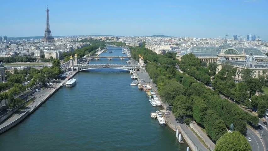 Fly over Paris with Seine river and Eiffel tower   Shutterstock HD Video #24606506