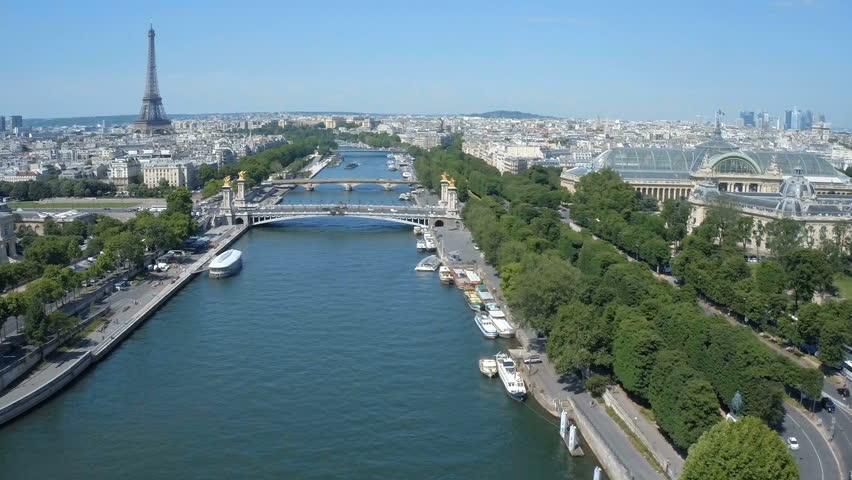 Fly over Paris with Seine river and Eiffel tower | Shutterstock HD Video #24606512