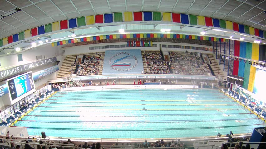 moscow apr 20 timelapse view audience looks competitions on swimming in olympic