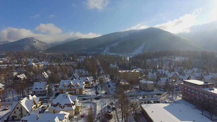 Aerial footage of mountain town, Zakopane, in Poland.