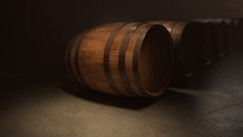 02648 Rolling Oak Barrel Of Wine In Cellar