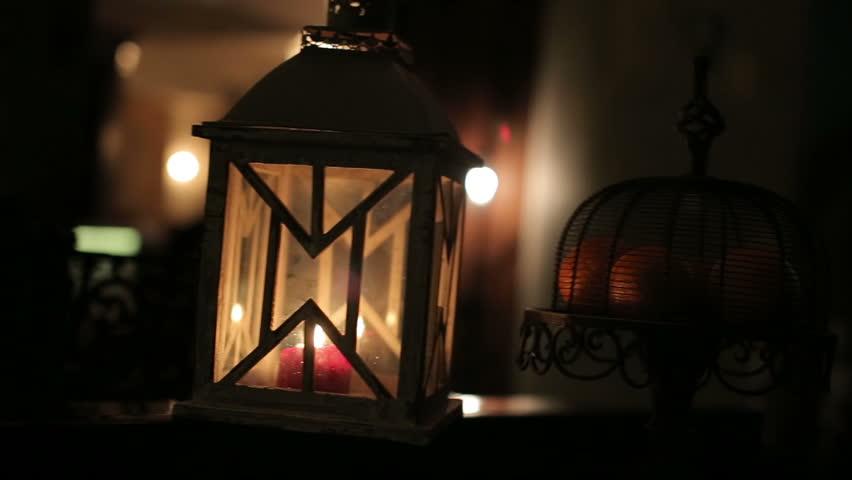 cozy night light in the restaurant interior