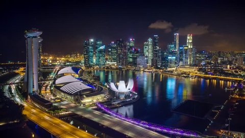 Night Singapore Marina Bay from ferris wheel Timelapse