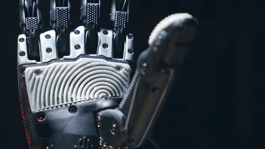 Futuristic bionic technology in ourdays. Robotics arm printed on 3D printer. | Shutterstock HD Video #24685376