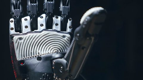 Futuristic bionic technology in ourdays. Robotics arm printed on 3D printer.