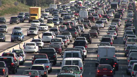Los Angeles, CA - CIRCA February 2006: Heavy traffic on Freeway produces many thousands of pounds of CO2 emissions everyday