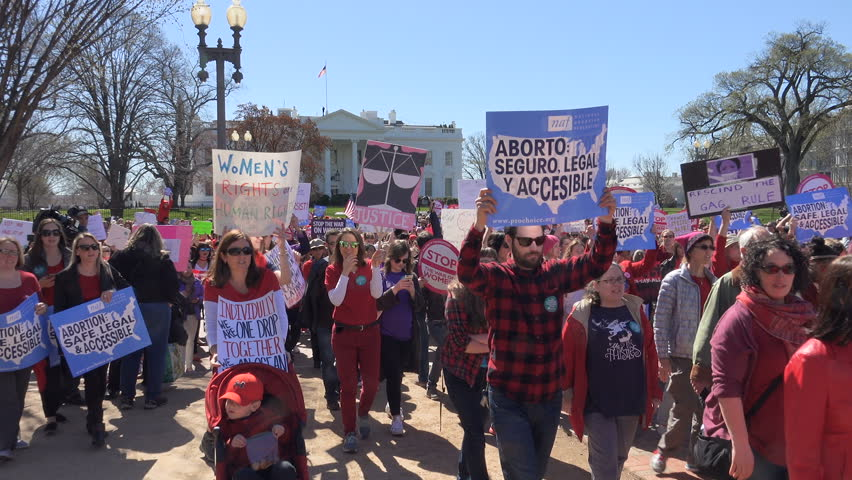 """WASHINGTON, DC - MAR. 8 2017: Demonstrators at the White house, part of A Day Without a Woman during International Women's Day.  Rally to protest the """"global gag rule,"""" which Pres.Trump reinstated."""