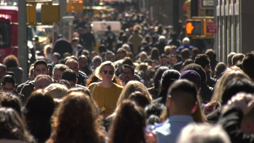 NEW YORK - CIRCA MARCH 2017: Crowd of people walking street #24699626