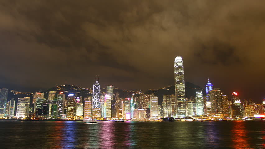 Hong Kong city sky line at night from Victoria harbour view, timelapse