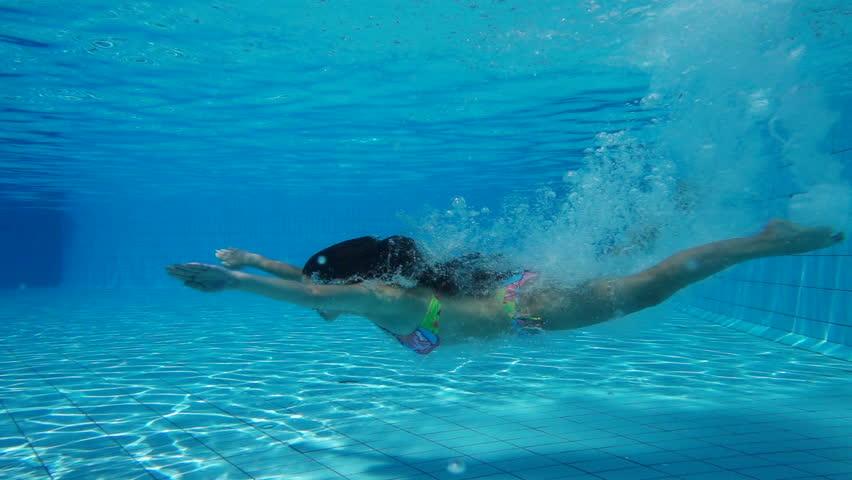 Girl Jump In Swimming Pool Stock Footage Video 100