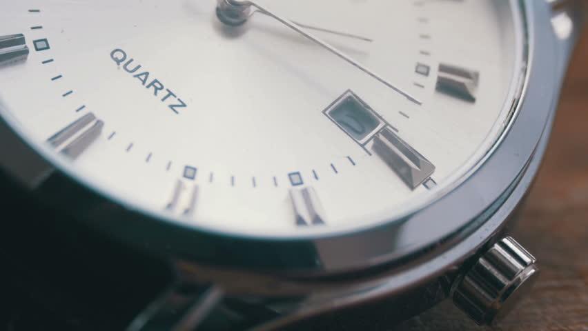 Modern quartz men's watch macro Second hand close up.