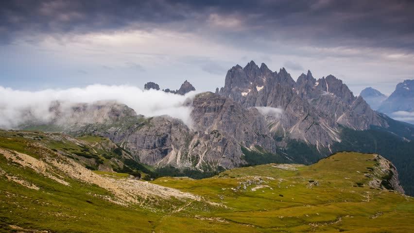Scenic surroundings of the national park Tre Cime di Lavaredo. Dramatic scene. Location place Misurina range, Dolomiti alps, Tyrol, Italy, Europe. Beauty world. Time lapse clip, interval shooting. | Shutterstock HD Video #24762956