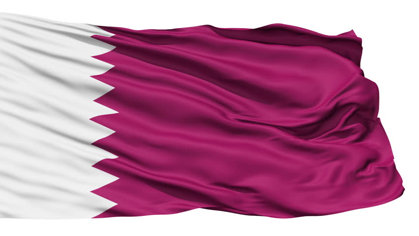 Animation of the full fluttering national flag of Qatar isolated on white