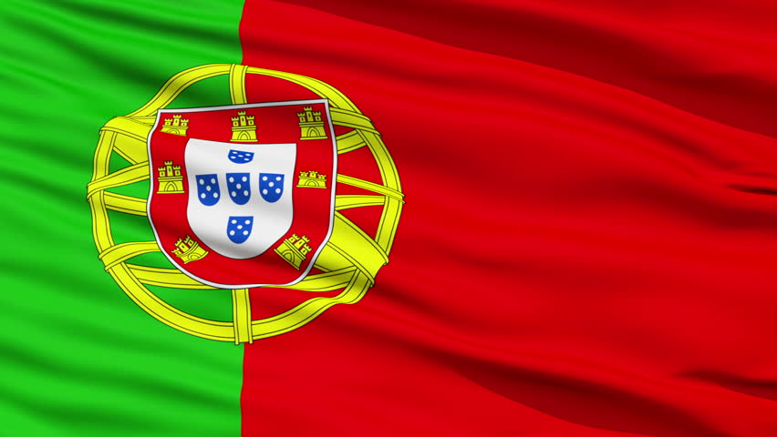 Closeup cropped view of a fluttering national flag of Portugal