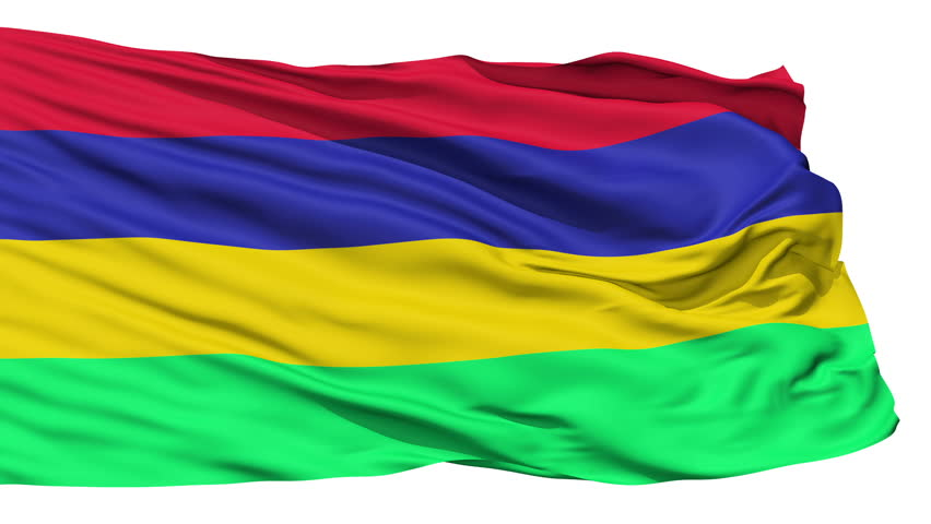Animation of the full fluttering national flag of Mauritius isolated on white