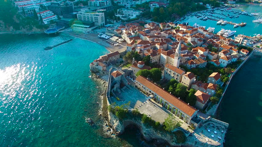 Montenegro Budva old town sea aerial landscape   Shutterstock HD Video #24810026