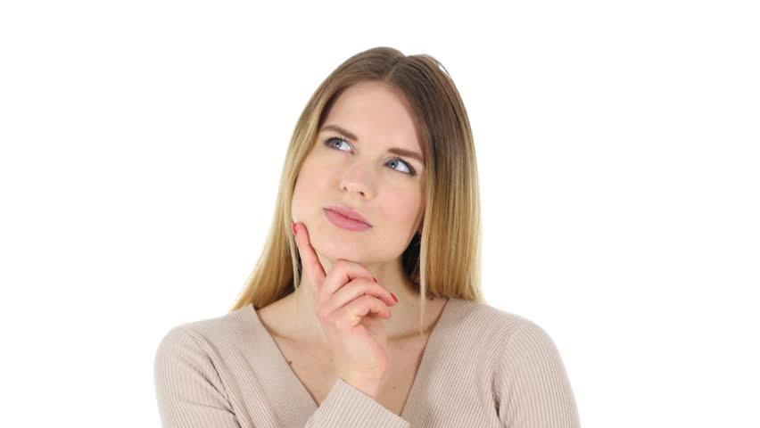 Thinking Pensive Woman, White Background | Shutterstock HD Video #24823976