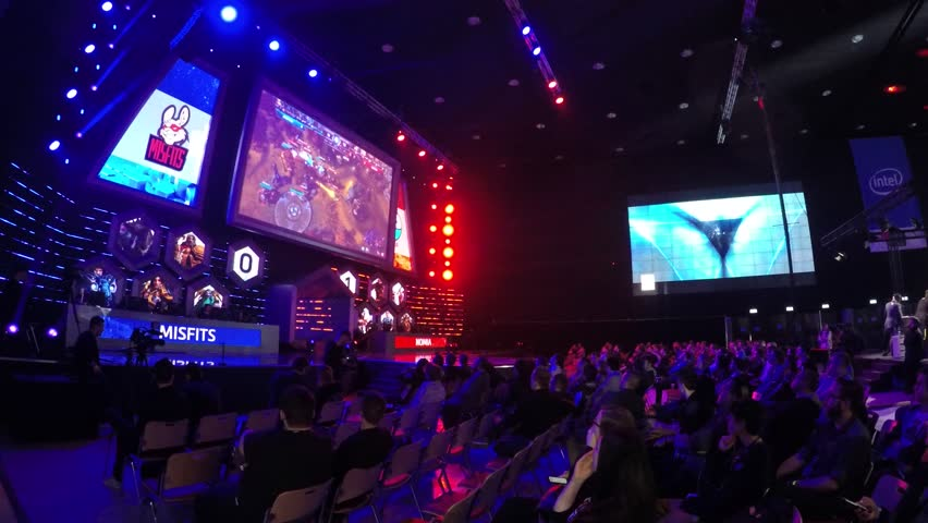 Poland, Katowice, Spodek, March 2017: Intel Extreme Masters,The most popular over the world e sport championship games.Players play starcraft,league of legends, counter strike game