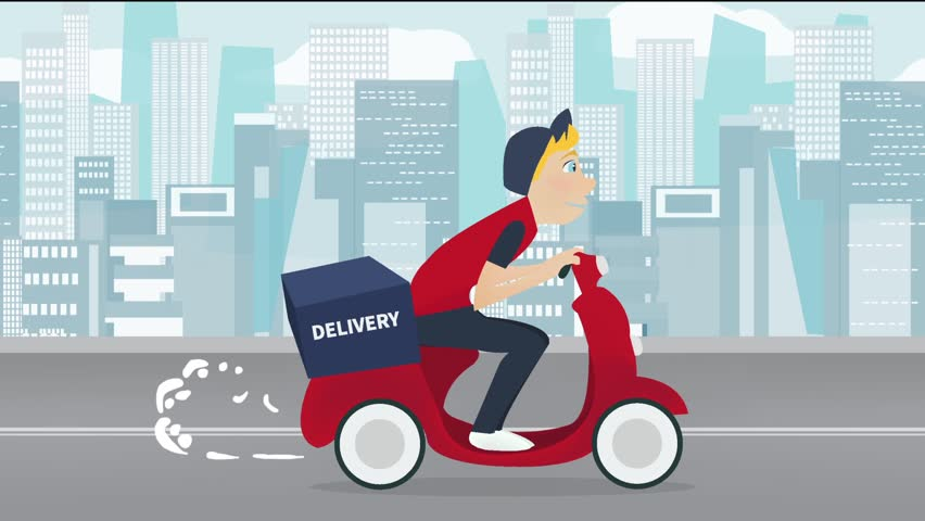 Delivery service footage. Cartoon young man riding a  Scooter Motorcycle with delivery box on it. Looped animation. Man on cityscape background.