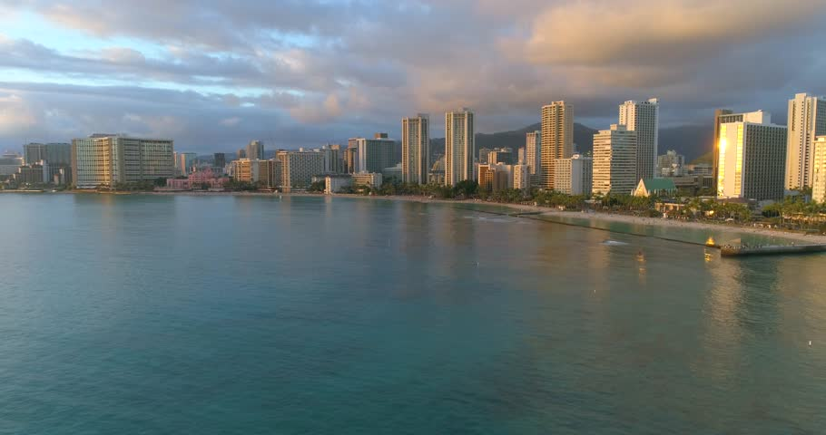 Aerial video of a beautiful sunset over waikiki beach honolulu | Shutterstock HD Video #24830780