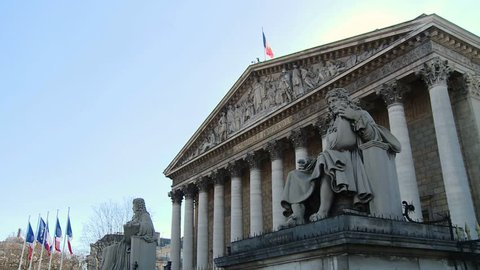 PARIS, FRANCE - The french national assembly (l'Assemblée nationale). Also called Palais Bourbon. French parliament.