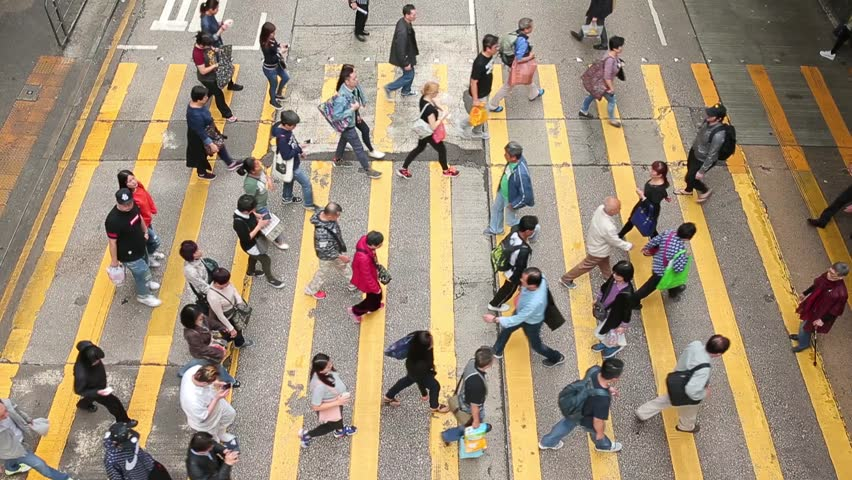 Hong Kong, March 2017 - : Top view of people crossing the road in Hong Kong  | Shutterstock HD Video #24956666