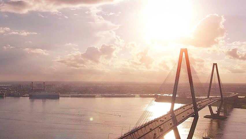 Cinematic Aerial Over Cooper River In Charleston SC