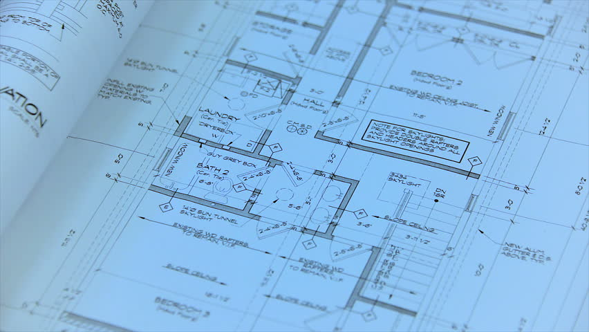 Architectural blueprint of contemporary buildings. Blue print. Side view. More plans available - check my portfolio.  | Shutterstock HD Video #24996473