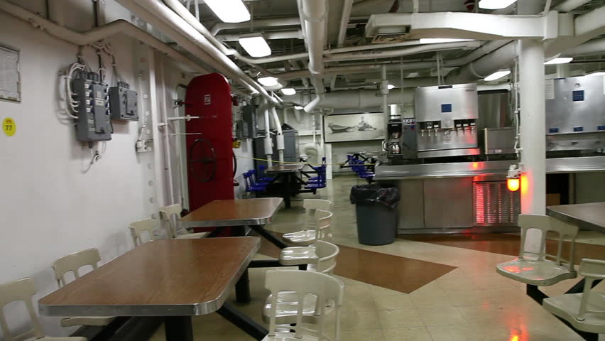 HONOLULU, OAHU, HAWAII, USA - AUGUST 21, 2016: dining room for sailors and soldiers of Battleship Missouri at Pearl Harbor. The end World War II was signed on this warship.   Shutterstock HD Video #24998186