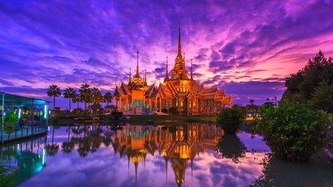 4k.Time lapse Wat None Kum temple Landmark of thailand  in Nakhon Ratchasima province Thailand