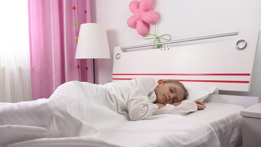 Wake Up Sleeping Child, Sleepy Little Girl Resting In ...
