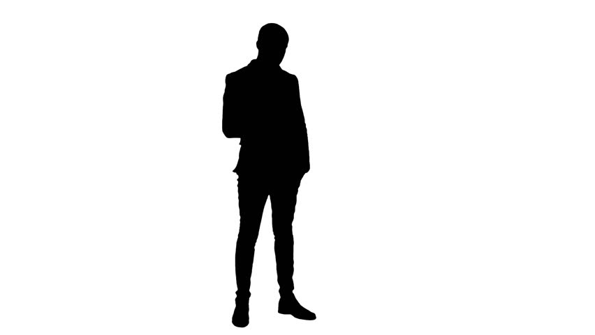 Silhouette Of Stressed Businessman On White Background ...