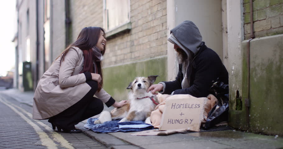 4k, A young woman stops to talk to a homeless person sitting on a pavement with his dog.