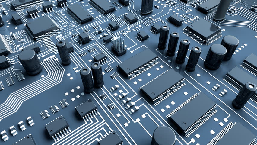 Abstract circuit board. High Technology 3d animation.