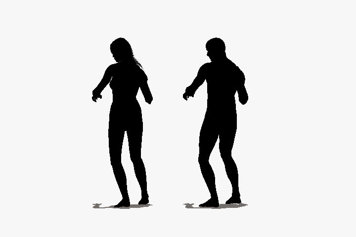 animation of silhouettes  of a man and a woman line dancing on an alpha layer