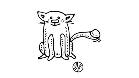 Hand drawn doodle Cute sitting cat playing with ball icon animation. Pet character symbol Cartoon kitty. Pets stuff and supply Footage Vet symbol cats care, tail, paw, ball, Goods for pet shop, hotel