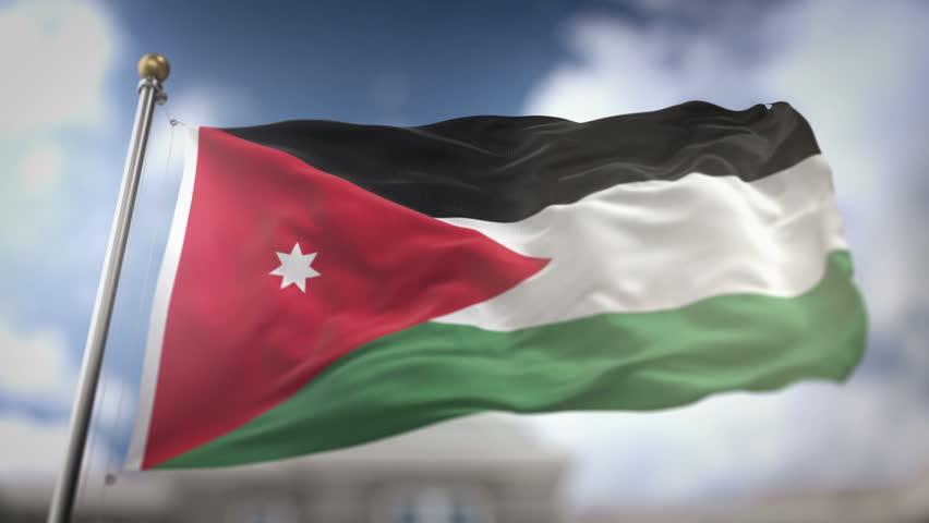 Jordan Flag Waving Slow Motion 3D Rendering Blue Sky Background - Seamless Loop 4K | Shutterstock HD Video #25106366