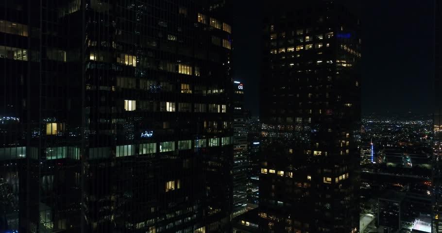 Downtown Los Angeles at Night / Aerial 4k / Los Angeles / 03.20.2017