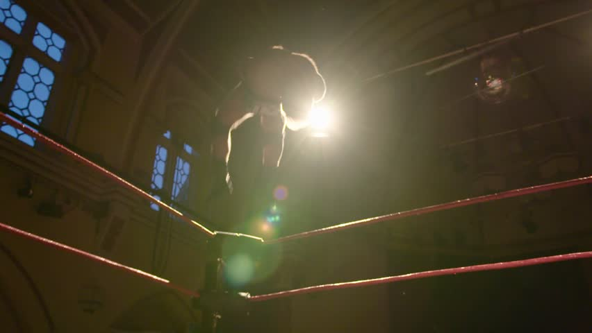 Incredible Acrobatic Backflip Dive off Top Rope into Ring during Wrestling Match (Slow Motion
