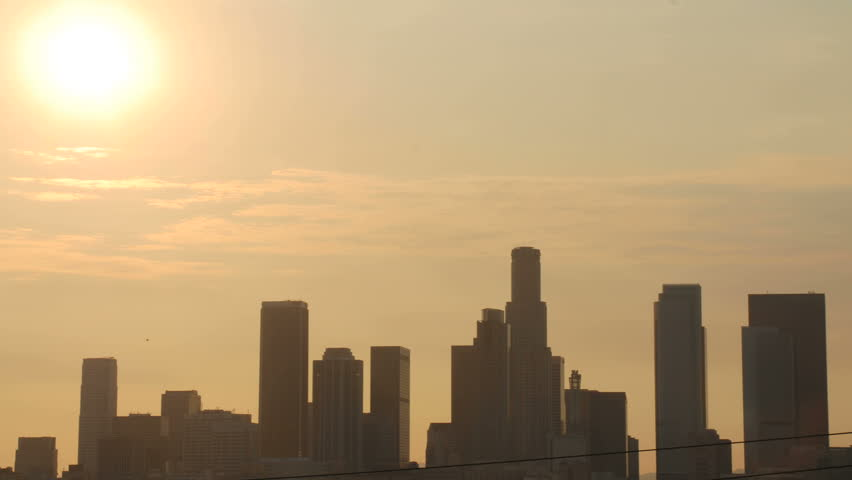 This is a timelapse shot of a sunset over downtown Los Angeles.