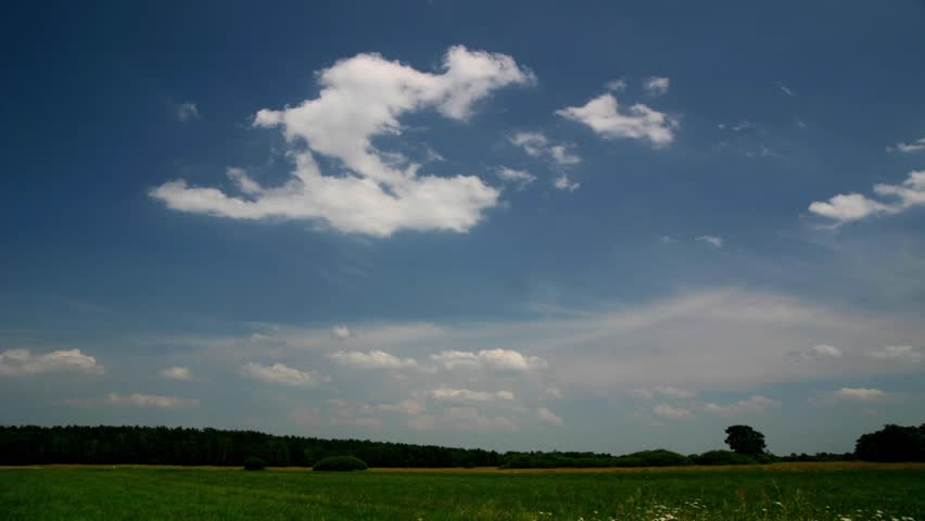 meadow time lapse HD, moving clouds