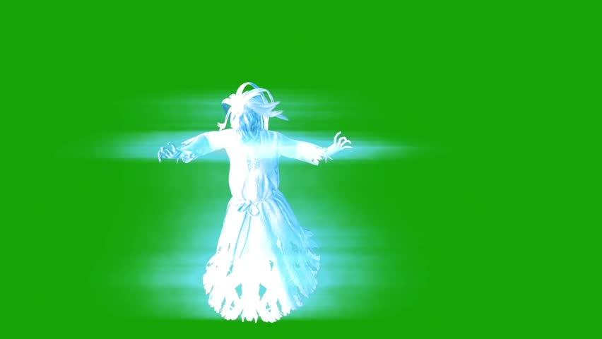 Terrifying Ghost Hangman Horror Attack Close up Green Screen 3D Rendering